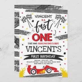 Fast One 1st Birthday Party Red Race Car Fast One Invitation