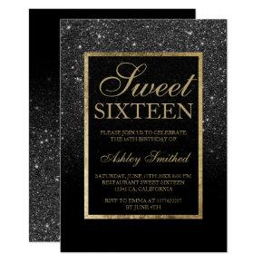 Faux black glitter gold elegant chic Sweet 16 Invitations