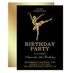 Faux Gold Ballet Girl Ballerina Birthday Party Invitation