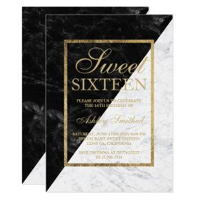Faux gold chic black white marble block Sweet 16 Invitations