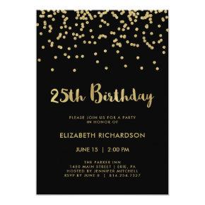 Faux Gold Confetti on Black | 25th Birthday Party Card