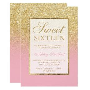 Faux gold glitter ombre pink elegant Sweet sixteen Invitation