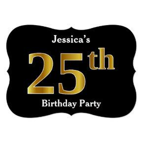 Faux Gold Look 25th Birthday Party + Custom Name Invitation