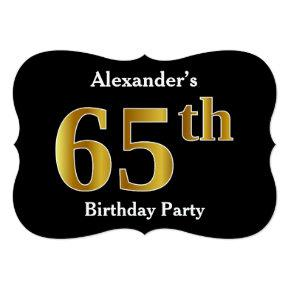 Faux Gold Look 65th Birthday Party + Custom Name Invitation