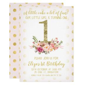 Faux Gold Number Floral 1st Birthday Invitation