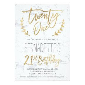 Faux gold typography feathers marble 21st Birthday Invitation