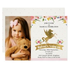 Faux Gold Unicorn Photo Birthday Invitation