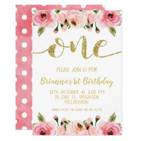 Faux Gold Word 1st Birthday Party Invitations