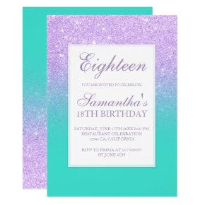 Faux lavender glitter turquoise chic eighteen invitation