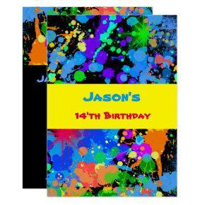 Faux Neon, Paint Splatter, Birthday Invitation