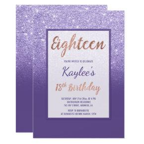 Faux purple glitter elegant chic 18th Birthday Card