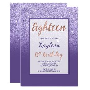 Faux purple glitter elegant chic 18th Birthday Invitations