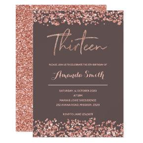 Faux Rose gold 13th Birthday Invitations