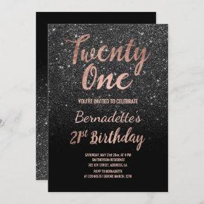 Faux rose gold black faux glitter 21st Birthday Invitation