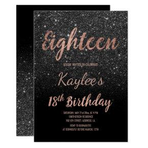 Faux rose gold black glitter 18th Birthday Invitations