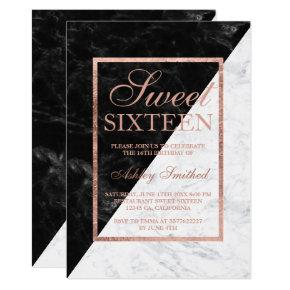 Faux rose gold black white marble block Sweet 16 Invitation