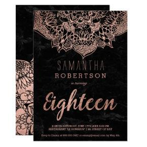 Faux rose gold boho mandala black marble 18th invitation