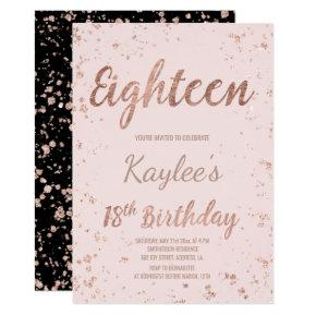 Faux rose gold confetti blush 18th Birthday Invitations