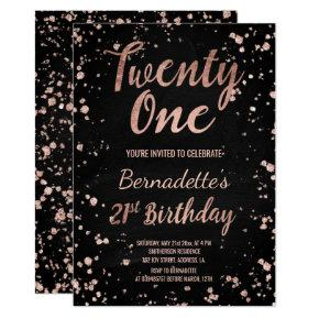 Faux rose gold confetti chalkboard 21st Birthday Invitation