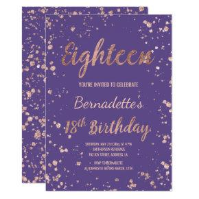 Faux rose gold confetti Purple 18th Birthday Invitation