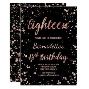 Faux rose gold confetti splatters 18th Birthday Invitation