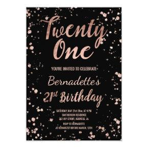 Faux rose gold confetti splatters 21st Birthday Invitation
