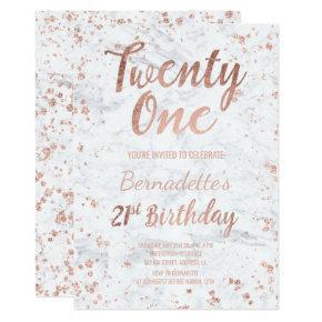 Faux rose gold confetti white marble 21st Birthday Invitation