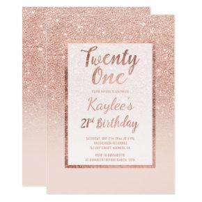 Faux rose gold, faux glitter elegant chic 21st Bir Invitation