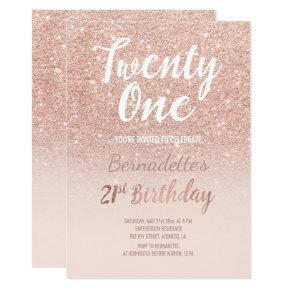 Faux rose gold, faux glitter ombre 21st Birthday Invitation