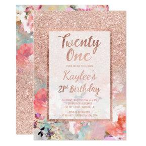Faux rose gold floral watercolor 21st Birthday Invitation