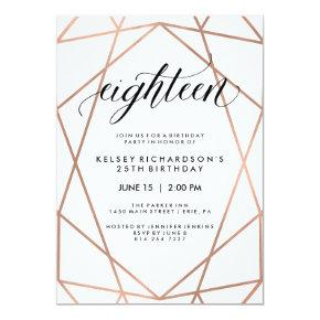 Faux Rose Gold Geometric | 18th Birthday Party Card