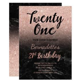 Faux rose gold glitter black marble 21st Birthday Invitation