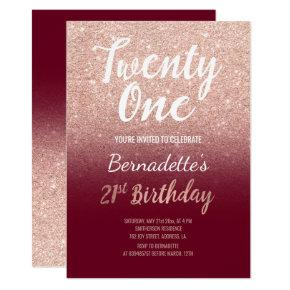 Faux rose gold glitter burgundy 21st Birthday Invitation