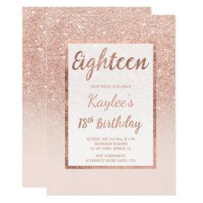 Faux rose gold glitter elegant chic 18th Birthday Invitations