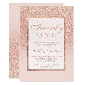 Faux rose gold glitter elegant chic 21st birtday card