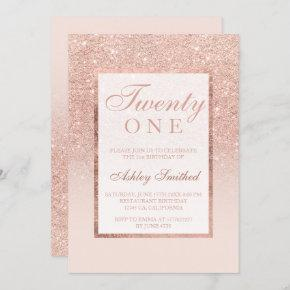 Faux rose gold glitter elegant chic 21st birtday invitation
