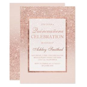 Faux rose gold glitter elegant chic Quinceañera Invitations
