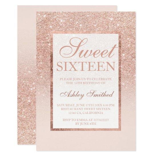 Faux rose gold glitter elegant chic Sweet 16