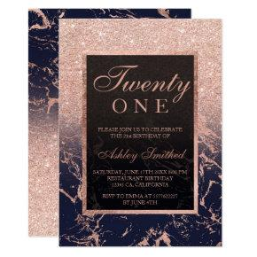 Faux rose gold glitter navy marble 21st birthday invitation