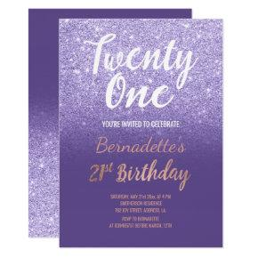 Faux rose gold glitter ombre 21st Birthday purple Card