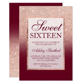 Faux rose gold glitter ombre burgundy Sweet 16 Invitations