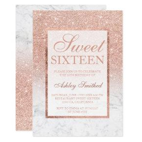 Faux rose gold glitter ombre marble chic Sweet 16 Invitation