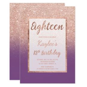 Faux rose gold glitter purple chic 18th Birthday Invitation