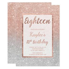 Faux rose gold glitter silver chic 18th Birthday Card