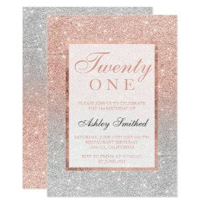 Faux rose gold glitter silver chic 21st birtday Invitations