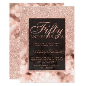 Faux rose gold glitter sparkles fifty fabulous invitation