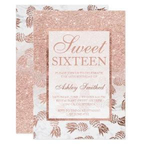 Faux rose gold ombre pineapples marble Sweet 16 Invitation