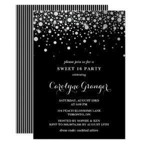Faux Silver Foil Confetti | Black Sweet Sixteen Invitation