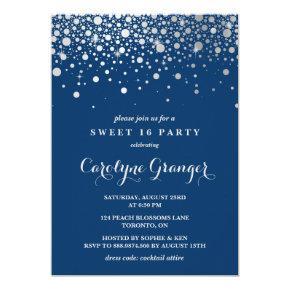 Faux Silver Foil Confetti | Navy Sweet Sixteen Invitation