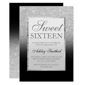 Faux silver glitter black elegant chic Sweet 16 Invitation